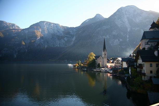 Tourism in the village of Hallstatt in Austria