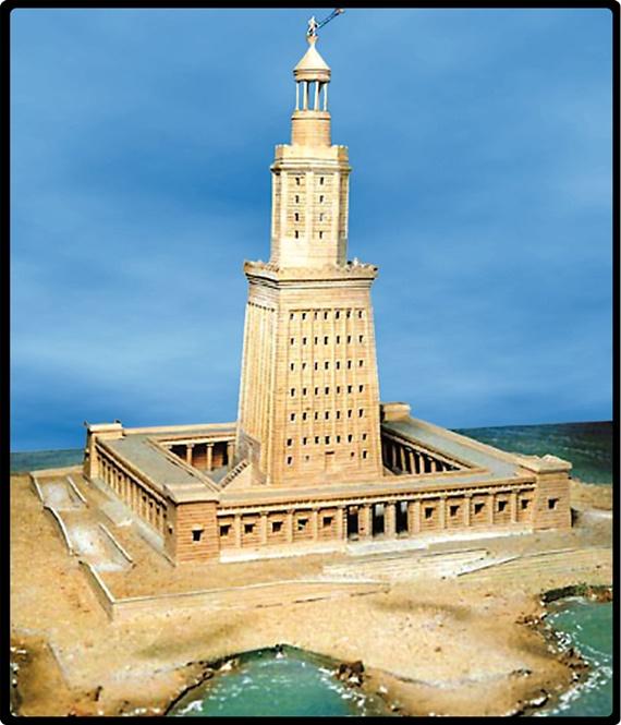 رسم تخيلي لمنار الأسكندرية أحد عجائب الدنيا السبع