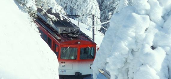 السكك الحديدة تخترق جبال الألب السويسرية
