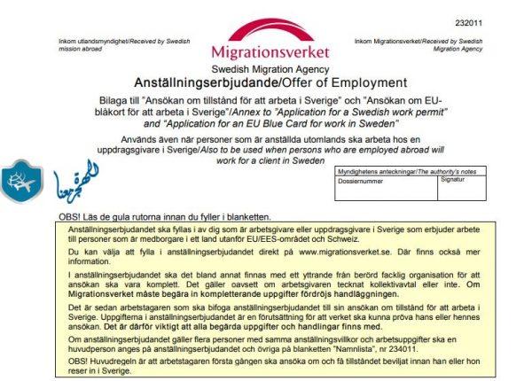 اجراءات استخراج عقد للهجرة الى السويد للعمل