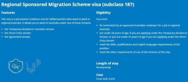 نوع التأشيرة الأسترالية