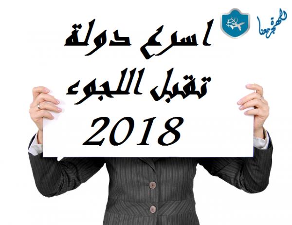 اسرع دوله تقبل اللجوء 2018