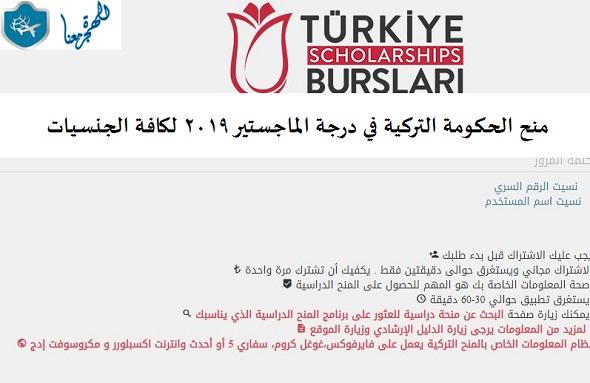 منح الحكومة التركية في درجة الماجستير 2019