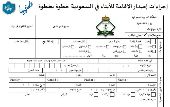 صورة إجراءات إصدار الإقامة للأبناء في السعودية خطوة بخطوة