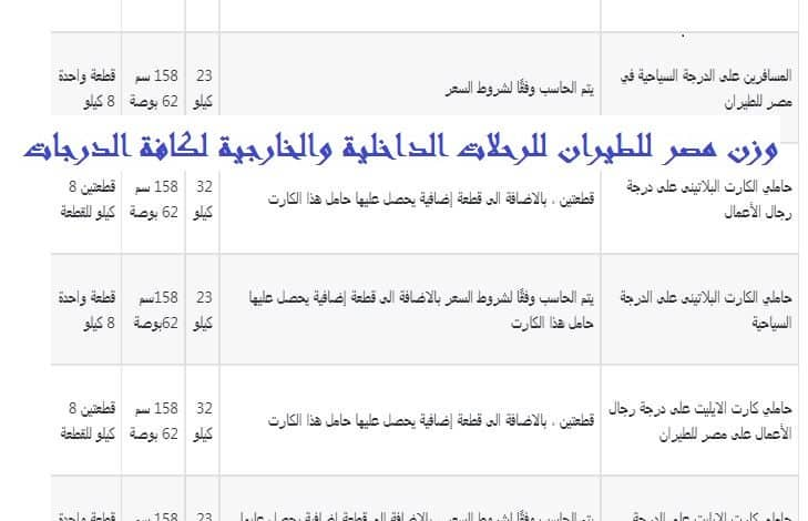 وزن مصر للطيران