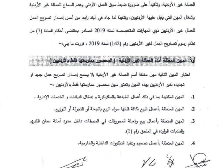 مهن مغلقة في الأردن للوافدين