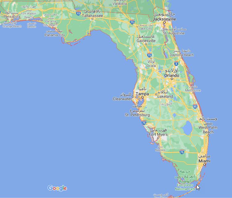 خريطة فلوريدا بالعربي