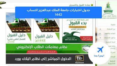 جدول اختبارات جامعة الملك عبدالعزيز انتساب 1442