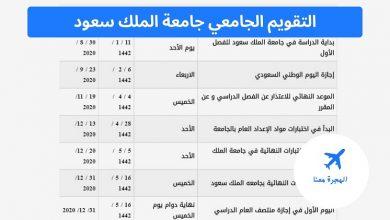 صورة التقويم الجامعي جامعة الملك سعود 1442 – تقويم جامعة الملك سعود