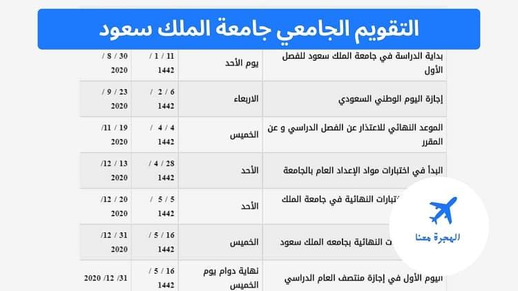 التقويم الجامعي جامعة الملك سعود
